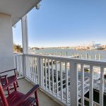 Beaufort Inn room balcony with rocking chairs overlooking water view